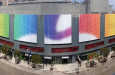 Shopping Centre opposite the Moscone Centre decorated with WWDC14 graphics