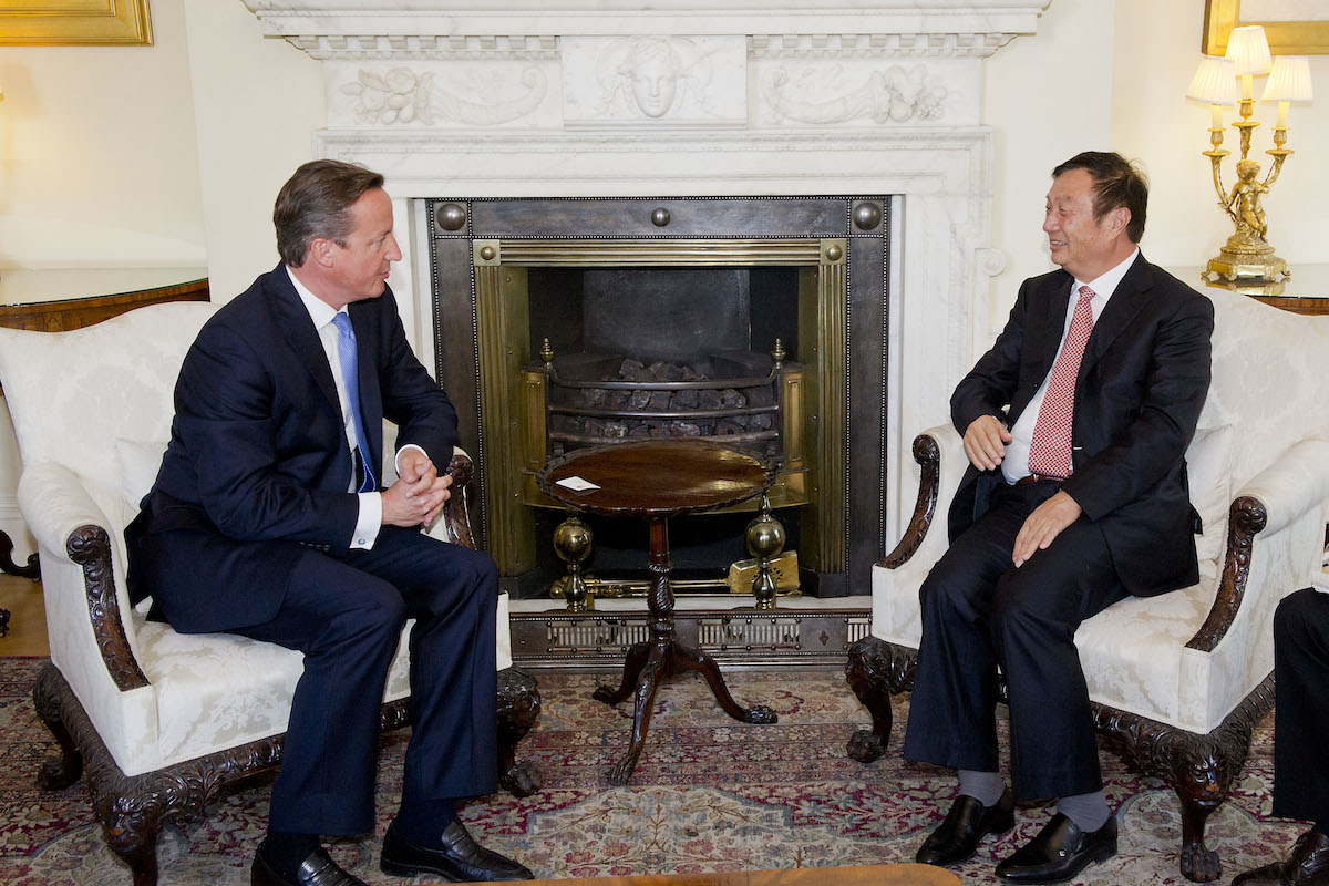 Huawei's CEO and founder, Mr. Ren, meets the Prime Minister, David Cameron at Number 10 Downing Street.  London - 11 September 2012