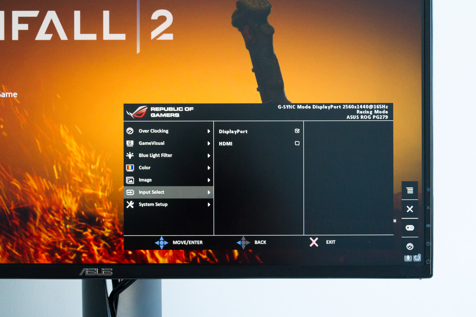 The on-screen menu system for the PG279Q